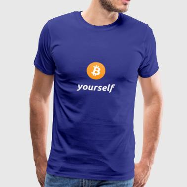 cryptocool b yourself white font -bitcoin logo - Mannen Premium T-shirt