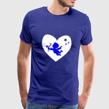 blue cupid, white heart - Men's Premium T-Shirt