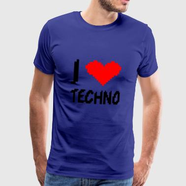 I Love Techno lage resolutie pixelated hart - Mannen Premium T-shirt