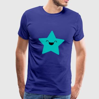 SWEET STAR - Laughing star in cyan - Men's Premium T-Shirt