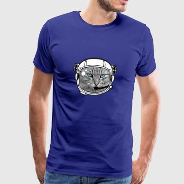 Astronaut Helmet Moon Spaceflight Cat Rocket Space - Men's Premium T-Shirt