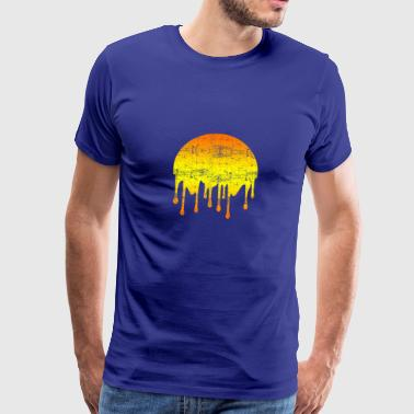 Dripping Beautiful Sunset Abstract - Premium T-skjorte for menn