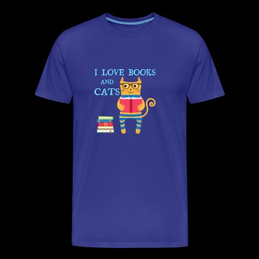 I love books and cats - Men's Premium T-Shirt
