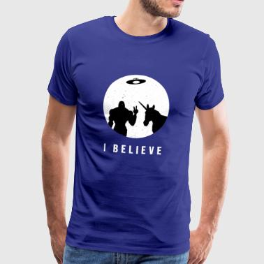 Ik geloof - Bigfoot & Unicorn Ufo - Mannen Premium T-shirt