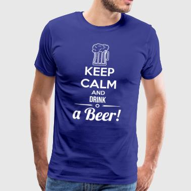 Keep Calm and Drink öl T-shirts och Tröjor - Premium-T-shirt herr