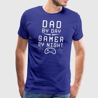 dad by day gamer by night - Men's Premium T-Shirt