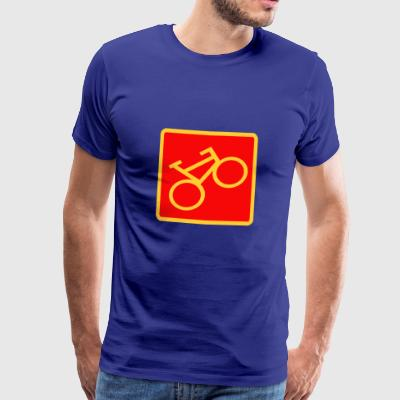 Sign Bicycle, yellow on a red background - Men's Premium T-Shirt