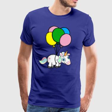 Rainbow unicorn flying with balloons cloud. - Men's Premium T-Shirt