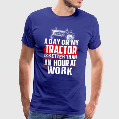 Farmer on my Tractor Gift Shirt - Men's Premium T-Shirt