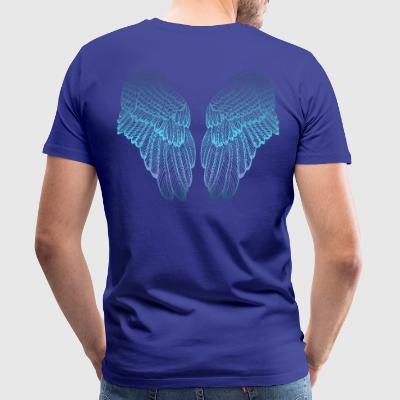 Feathery Blue Toned Angel Wings - Herre premium T-shirt