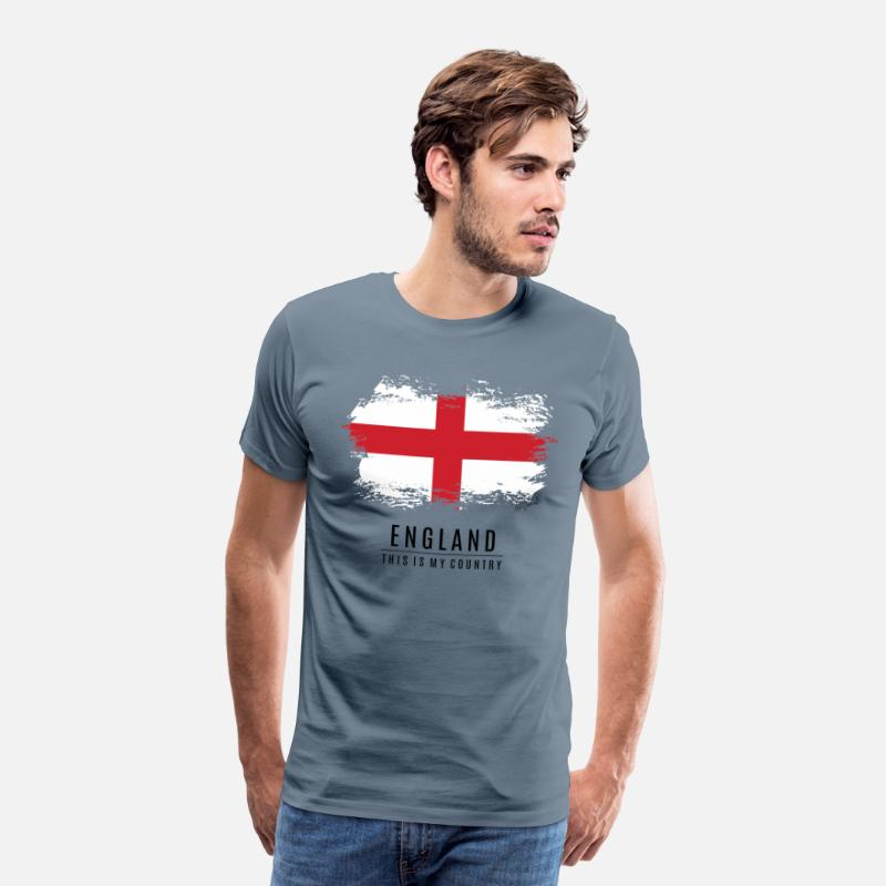 This T-Shirts - ENGLAND FLAG - THIS IS MY COUNTRY - Men's Premium T-Shirt steel blue