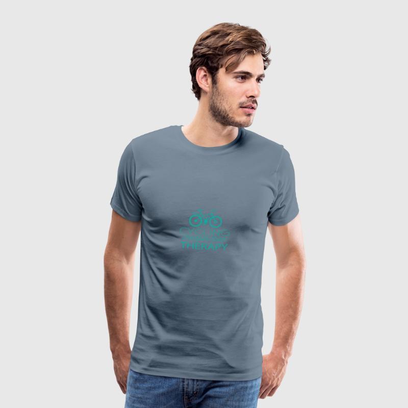 Cycling: Cycling - cheaper than Therapy - Men's Premium T-Shirt