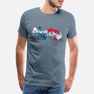Shape Panama Map and Flag - Men's Premium T-Shirt