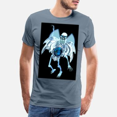 Bewinged Skull skull with blue wings - Men's Premium T-Shirt
