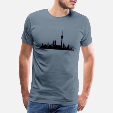 Places Of Interest Munich Skyline small - Men's Premium T-Shirt