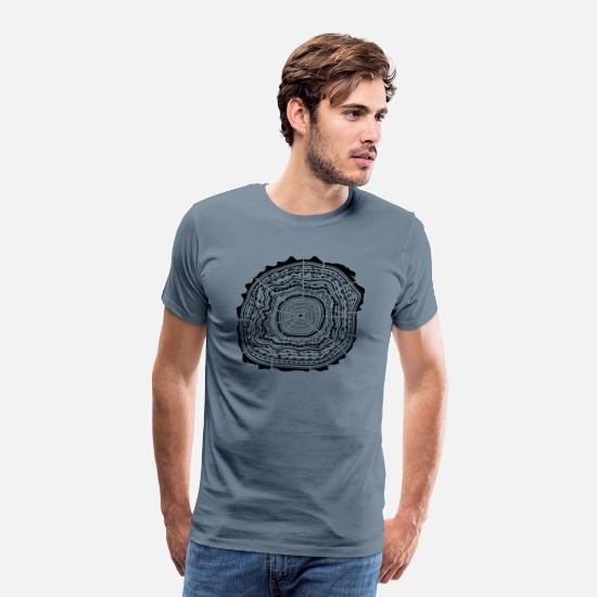 Nature T-Shirts - Wooden disc with bark - tree rings - Men's Premium T-Shirt steel blue