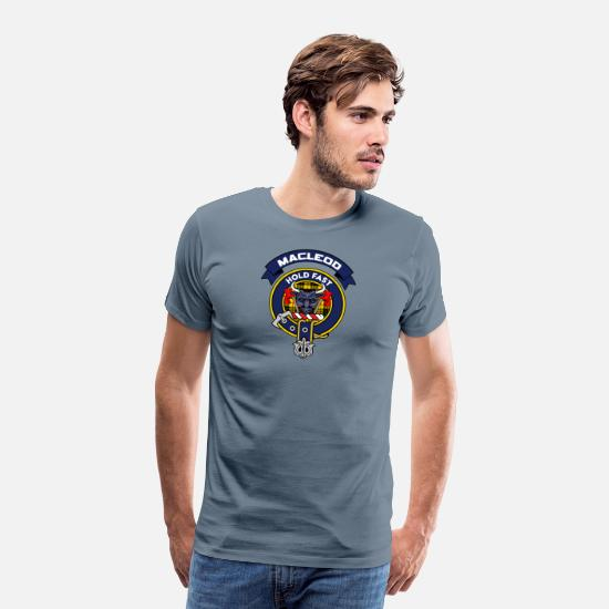 Crest T-Shirts - MacLeod Scottish Clan Badge Tartan - Men's Premium T-Shirt steel blue