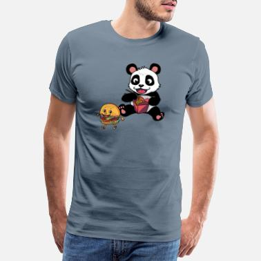 Amour Panda Bear with Fast Food Kids Party Comic Animals - Men's Premium T-Shirt