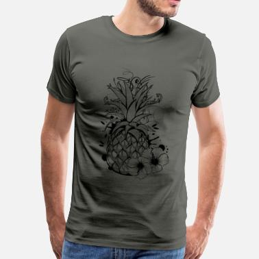 Pineapple with hibiscus blossom - Mannen Premium T-shirt