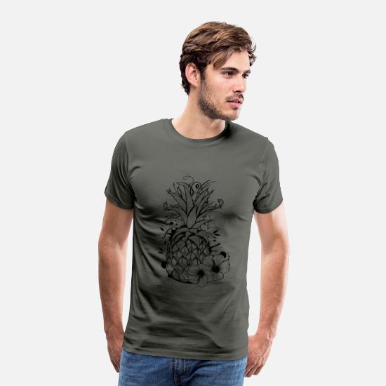 Tropical T-Shirts - Pineapple with hibiscus blossom - Men's Premium T-Shirt asphalt