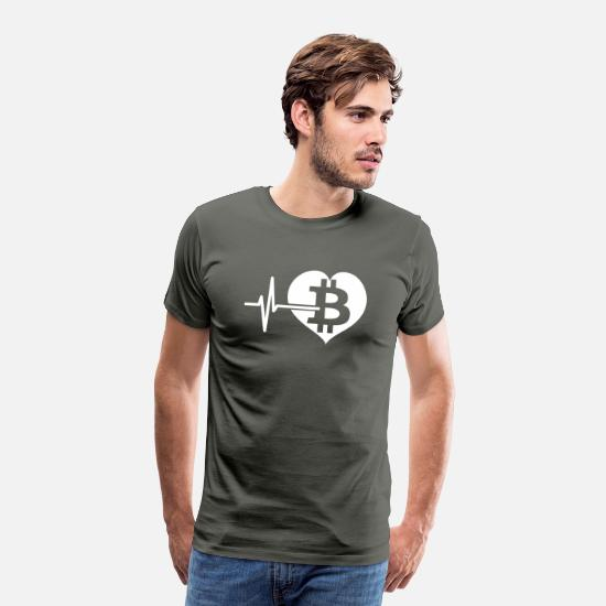 Blockchain T-Shirts - Bitcoin Heartbeat - Cryptocurrency - Men's Premium T-Shirt asphalt