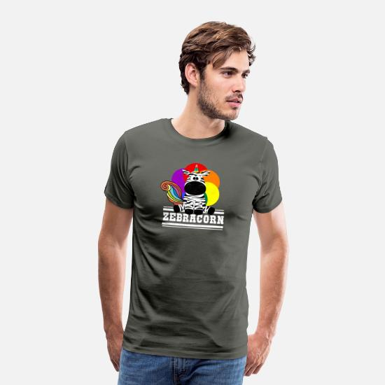 Small T-Shirts - Zebracorn - Funny Unicorn ..ah .. Zebra - Men's Premium T-Shirt asphalt