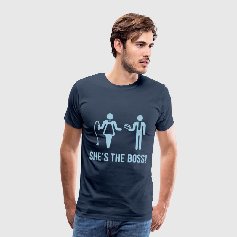 She's The Boss! (Wife & Husband) - Men's Premium T-Shirt