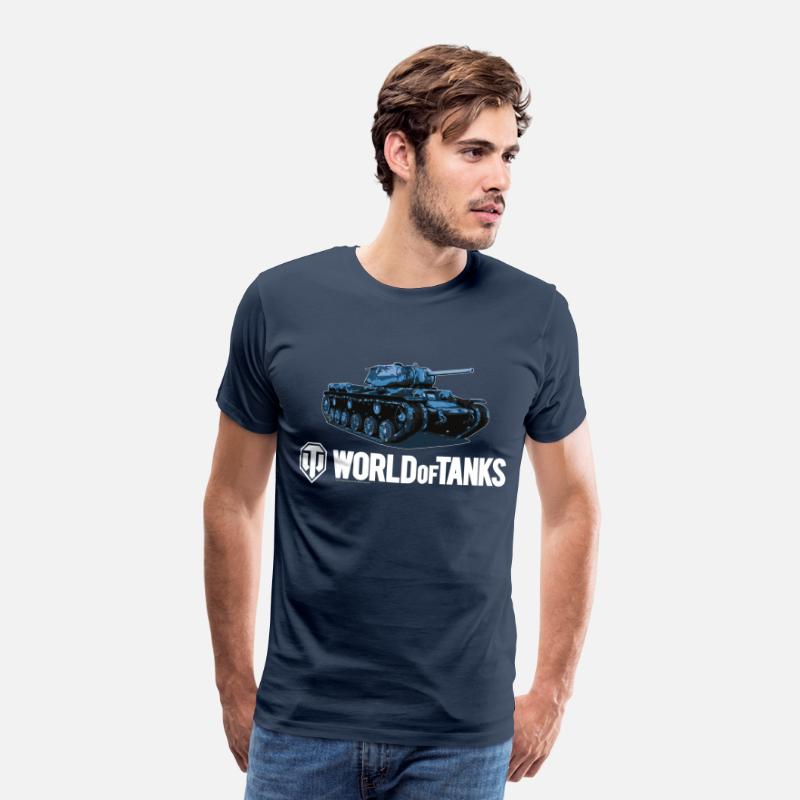 World Of Tanks Camisetas - World of Tanks Blue Tank Homme sweat-shirt á capu - Camiseta premium hombre azul marino