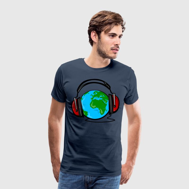 Earth with headphones color T-Shirts - Men's Premium T-Shirt