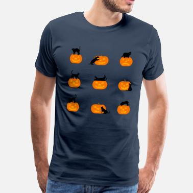 Frequentato cats and pumpkins - Maglietta Premium da uomo