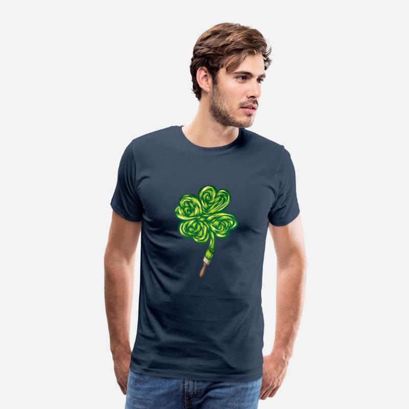 "Nature Collection V2 T-Shirts - Clover - ""I make my own luck"" - Men's Premium T-Shirt navy"