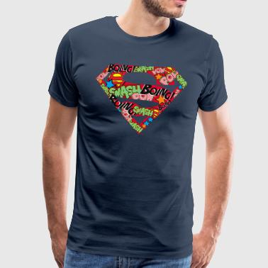 DC Comics Superman Classic Logo Soundwords - Miesten premium t-paita