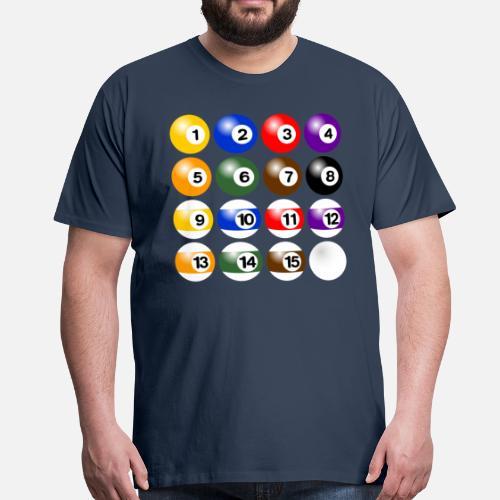 Bolas de billar juego completo - Camiseta premium hombre. detrás. detrás.  Diseño. delante. delante 8cca54c1fd159