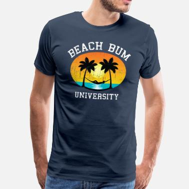 Varsity Beach Bum University | Palm - Sunset - Hammock - Camiseta premium hombre