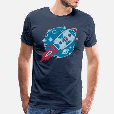 Star Trek Nasa Retro Rocket, 3c, Planet, Stars, Space, Galaxy, - Men's Premium T-Shirt