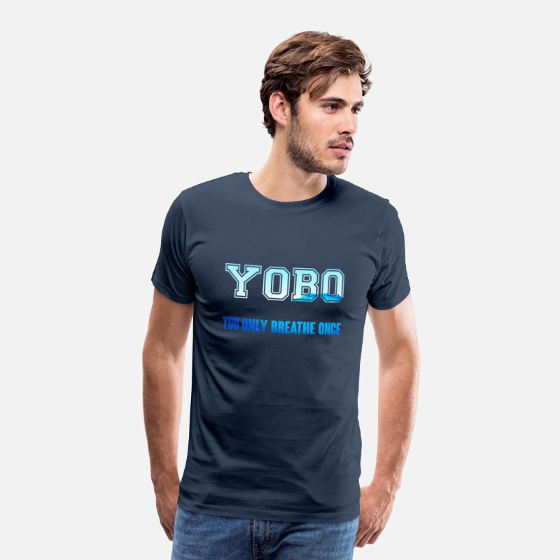 Swim T-Shirts - Swimming / Swimmer: YOBO - You Only Breathe Once - Men's Premium T-Shirt navy