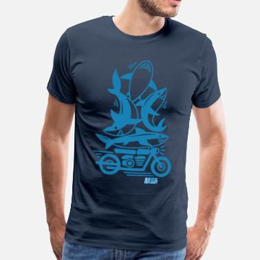 Sharks Animal Planet Humour Ocean Sharks Motorbike - Men's Premium T-Shirt