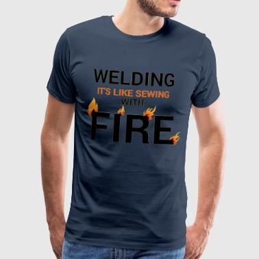 Tradesman Welding sewing with fire black - Men's Premium T-Shirt