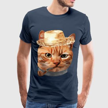Halm Kat Kitty Killing In Clothes Pipe Straw - Herre premium T-shirt