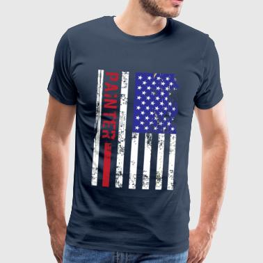 Tradesman Painter US FLag - Men's Premium T-Shirt