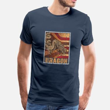 Fairy Tail Dragon Retro Dragon Poster Distressed Look - Men's Premium T-Shirt
