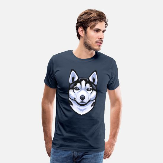 Animal Collection T-Shirts - Siberian Husky - Men's Premium T-Shirt navy