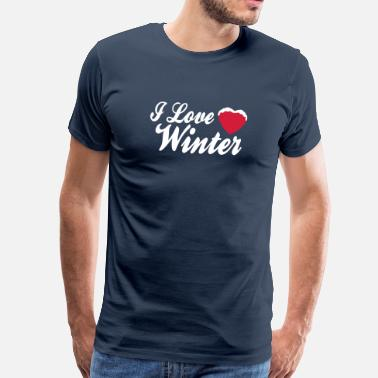 I Love Winter I love winter with heart 2c - Miesten premium t-paita