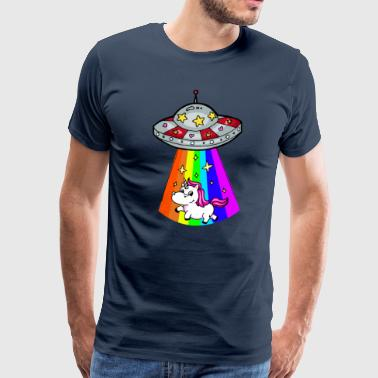Unicorn is beamed down by UFO - Men's Premium T-Shirt