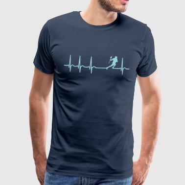 Heartbeat Lacrosse Player Funny Shirt Gift - Herre premium T-shirt