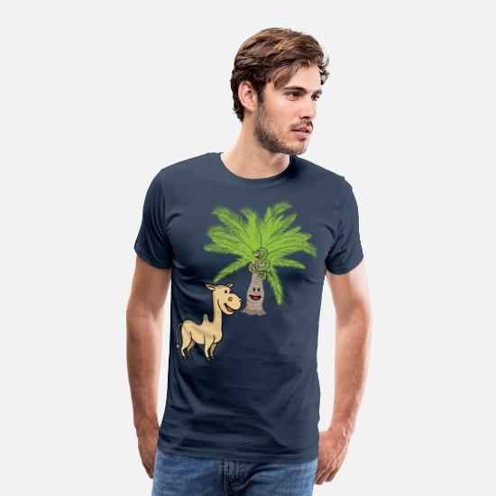 Nature T-Shirts - Camel Camels Palm Palm Trees Wilderness Wildlife - Men's Premium T-Shirt navy