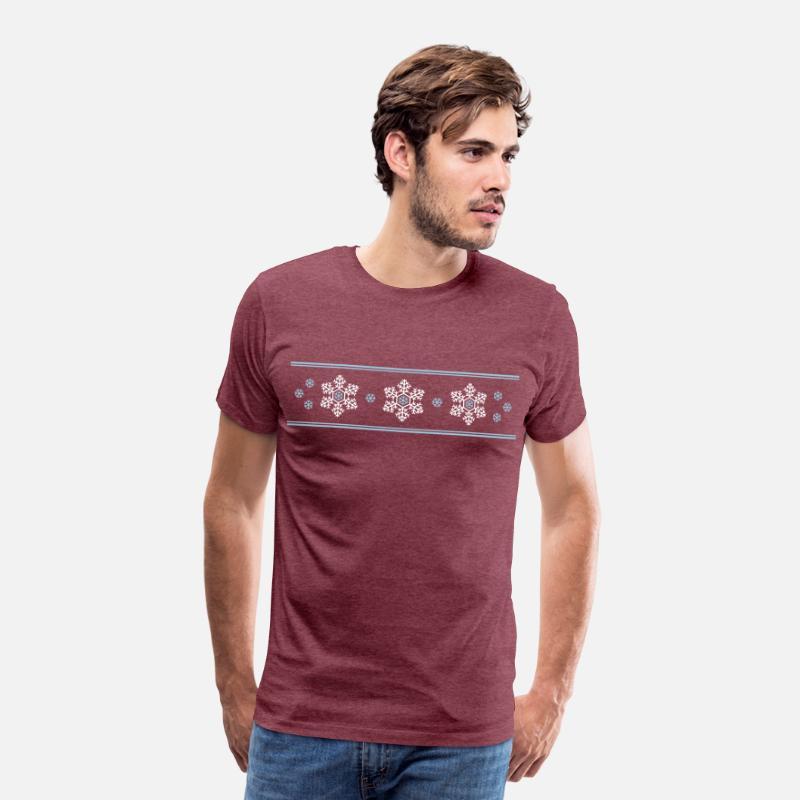 flocons de neige Hüttengaudi Apres Ski T shirt Premium Homme rouge bordeaux chiné