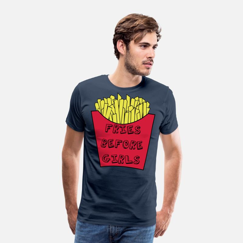 Guys T-Shirts - Fries before girls - Men's Premium T-Shirt navy