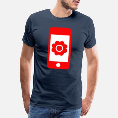 Nature Lovers Flower with bloom on smartphone gift - Men's Premium T-Shirt