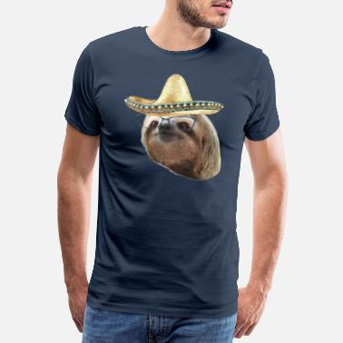 Bradipo Sloth Black Glasses Sombrero Sloths In Clothes - Maglietta Premium da uomo
